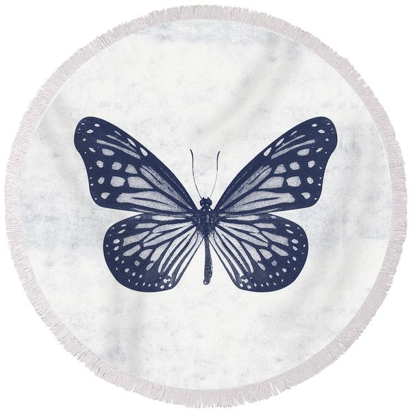 Indigo And White Butterfly 2- Art By Linda Woods Round Beach Towel