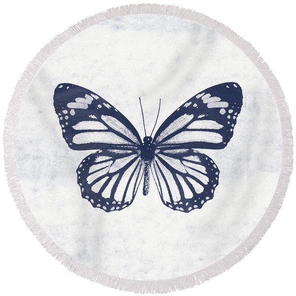 Indigo And White Butterfly 3- Art By Linda Woods Round Beach Towel