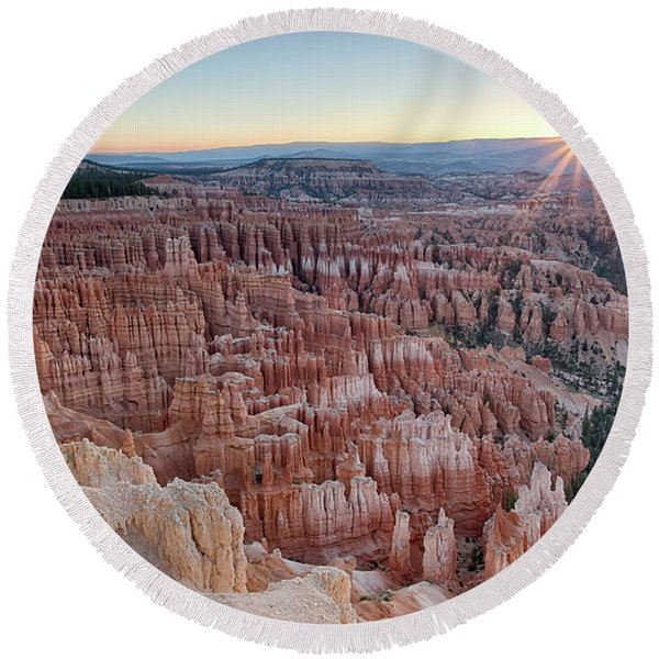 Inspiration Point Sunrise Bryce Canyon National Park Summer Solstice Round Beach Towel