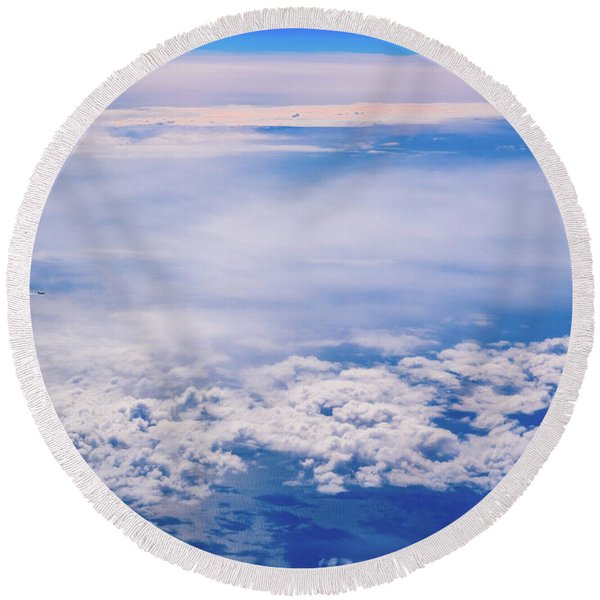 Intense Blue Sky With White Clouds And Plane Crossing It, Seen From Above In Another Plane. Round Beach Towel