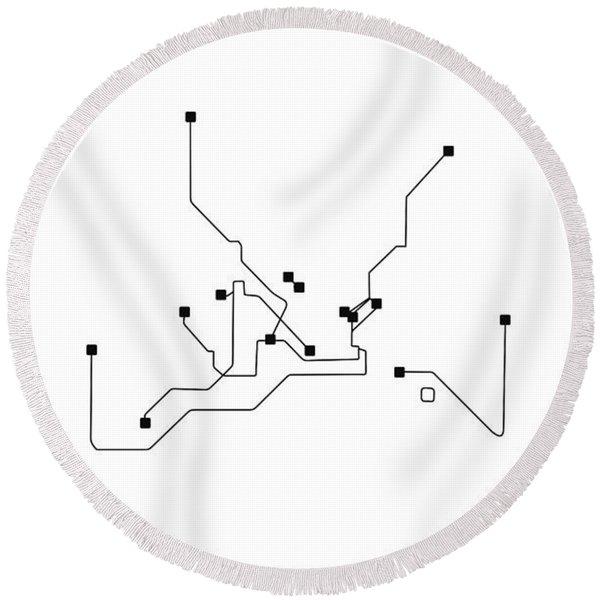 Istanbul White Subway Map Round Beach Towel