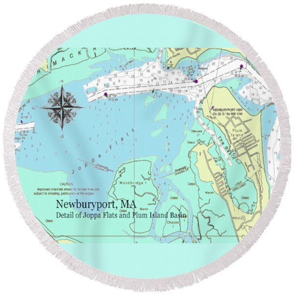 Joppa Flats Map Round Beach Towel