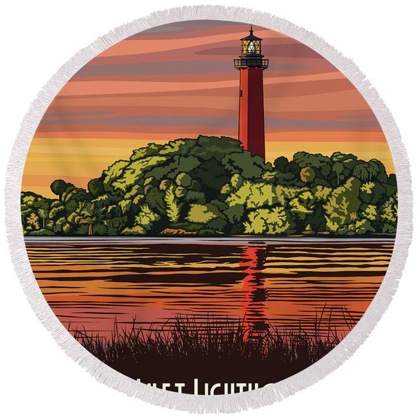 Jupiter Inlet Lighthouse Travel Poster Round Beach Towel