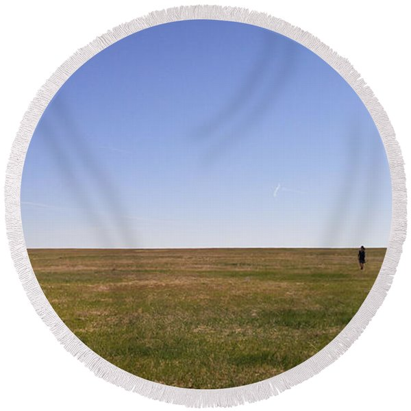 Round Beach Towel featuring the photograph Just Walk To The Horizon by Carl Young