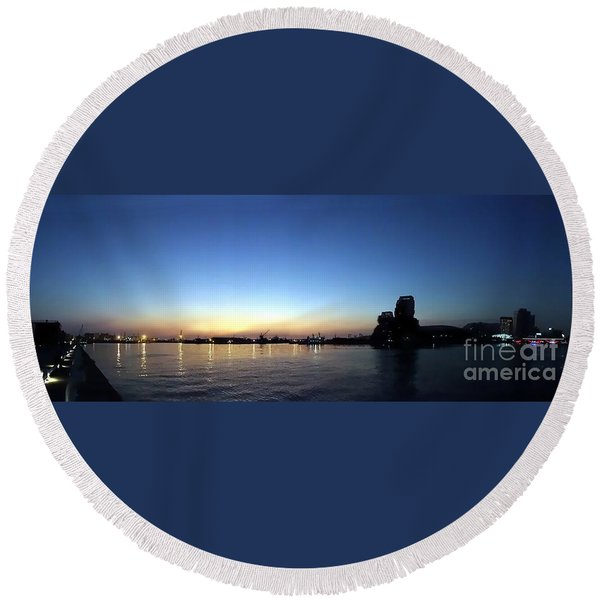 Kaohsiung Port At Dusk Panorama Round Beach Towel