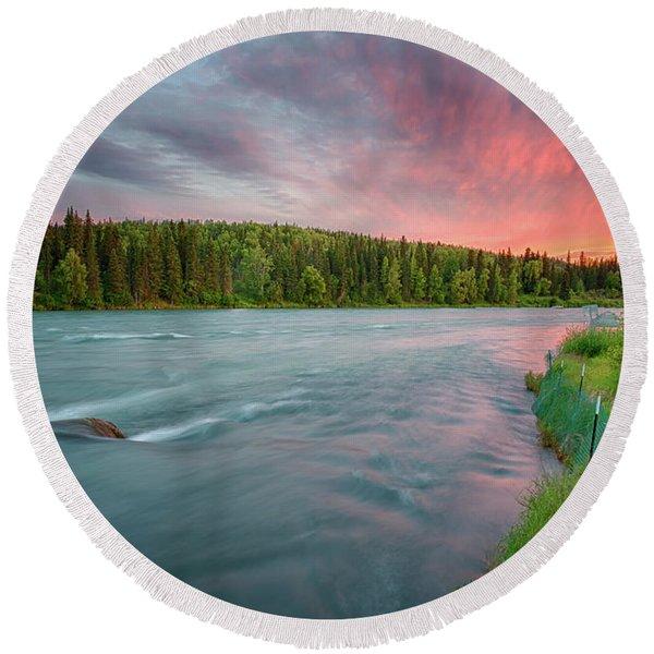 Kenai River Alaska Sunset Round Beach Towel