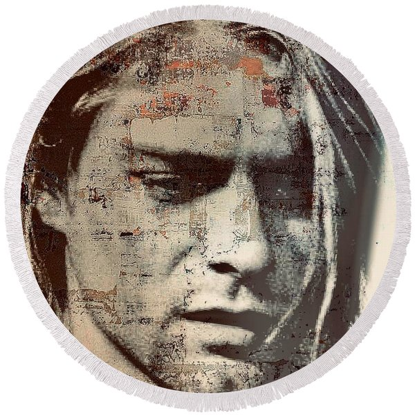 Kurt Cobain Round Beach Towel