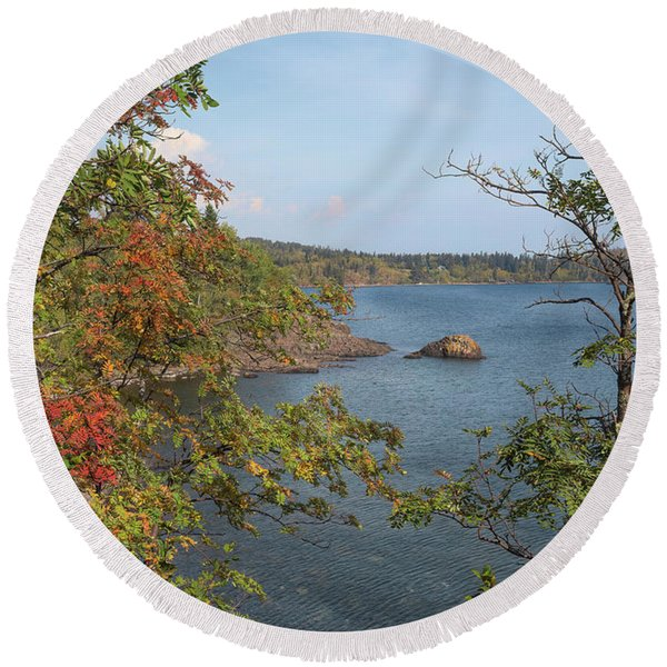 Lake Superior Autumn Round Beach Towel