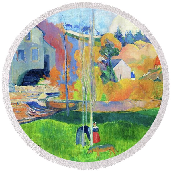 Landscape In Brittany. The David Mill - Digital Remastered Edition Round Beach Towel