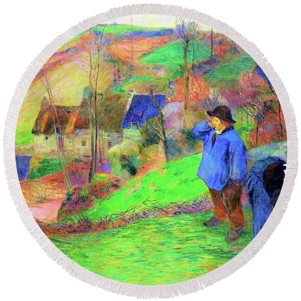 Landscape Of Brittany - Digital Remastered Edition Round Beach Towel