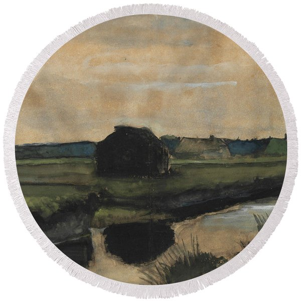 Landscape With A Stack Of Peat And Farmhouses Round Beach Towel