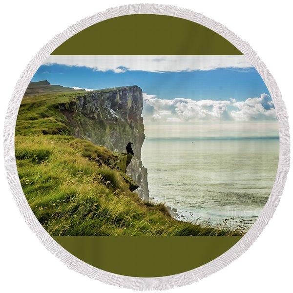 Latrabjarg Cliffs, Iceland Round Beach Towel