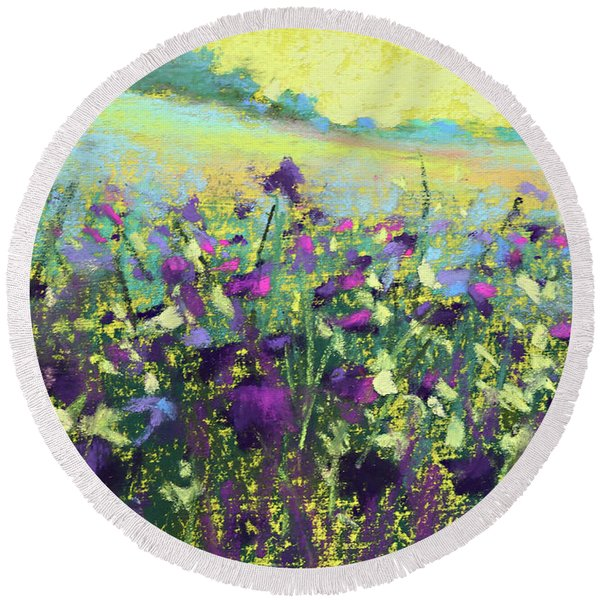 Lazy Yellow Afternoon Round Beach Towel