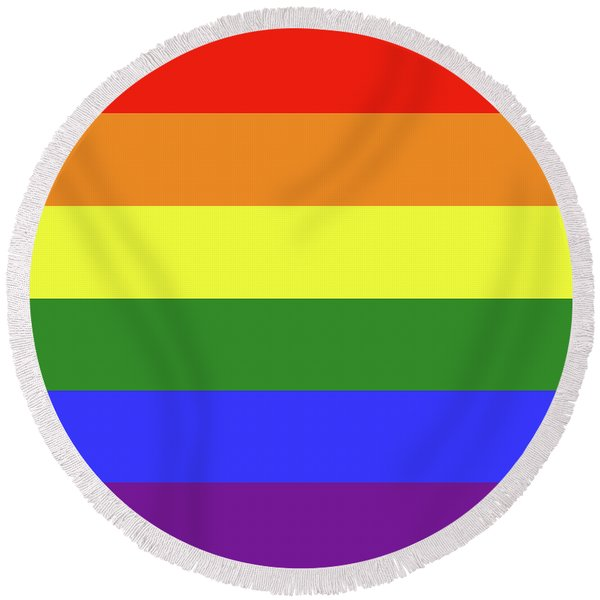 Lgbt 6 Color Rainbow Flag Round Beach Towel