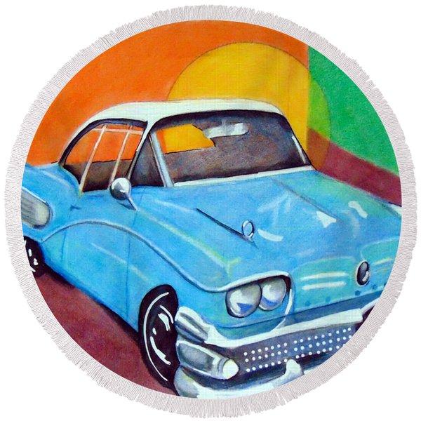 Light Blue 1950s Car  Round Beach Towel
