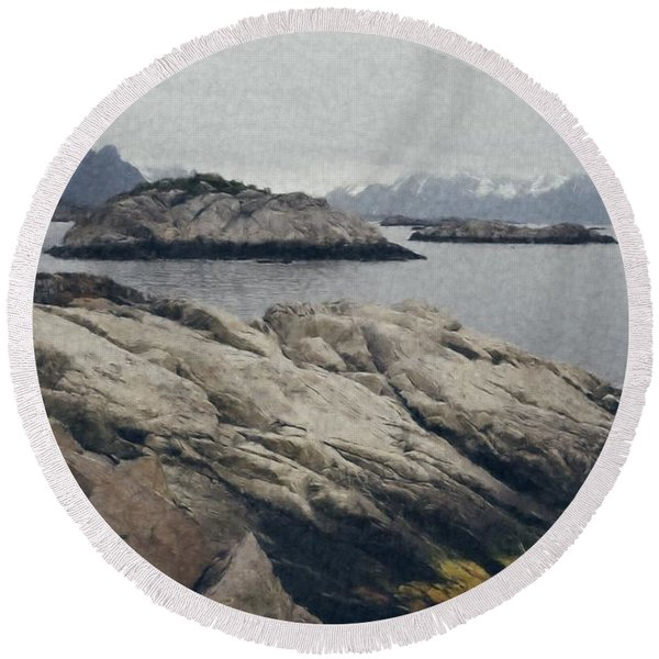 Lighthouse On Rocks Near The Atlantic Coast, Digital Art Oil Pai Round Beach Towel