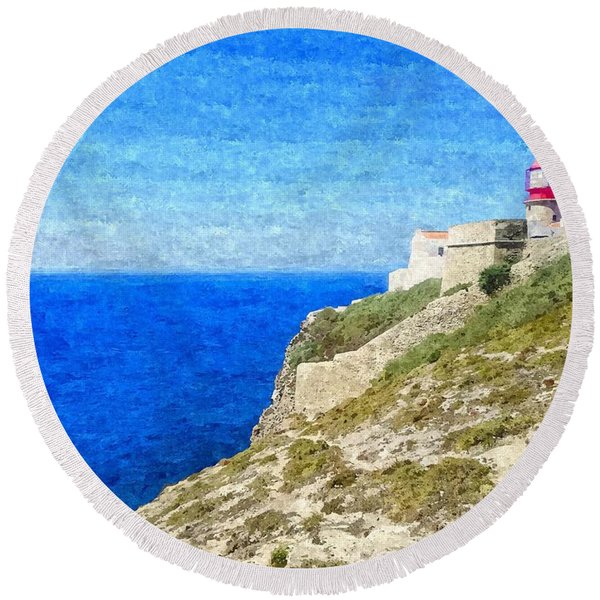 Lighthouse On Top Of A Cliff Overlooking The Blue Ocean On A Sunny Day, Painted In Oil On Canvas. Round Beach Towel