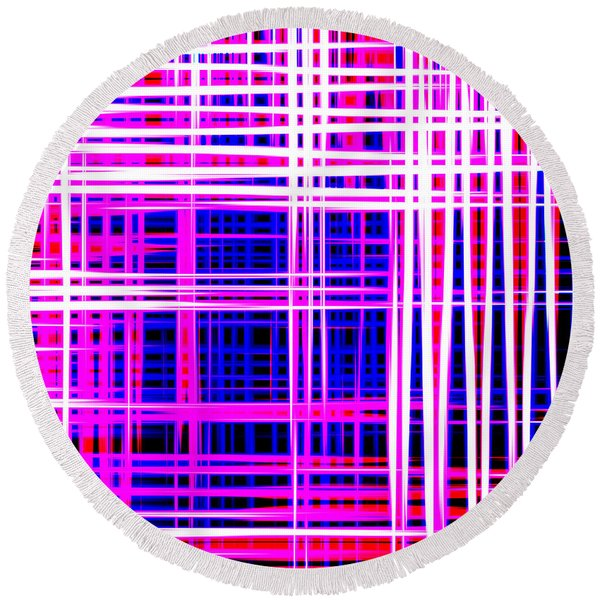 lines and squares in purple Color Waves - PL414 Round Beach Towel