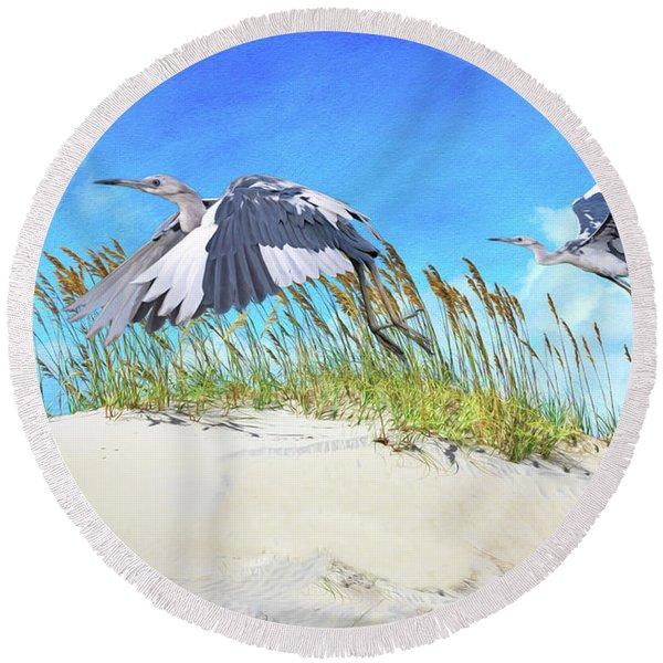 Little Blue Herons Round Beach Towel