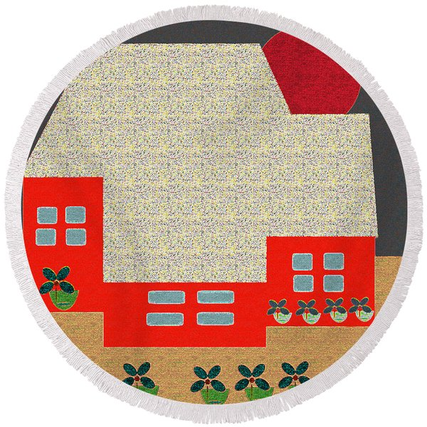 Little House Painting 4 Round Beach Towel