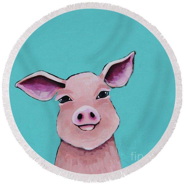 Little Pig Round Beach Towel