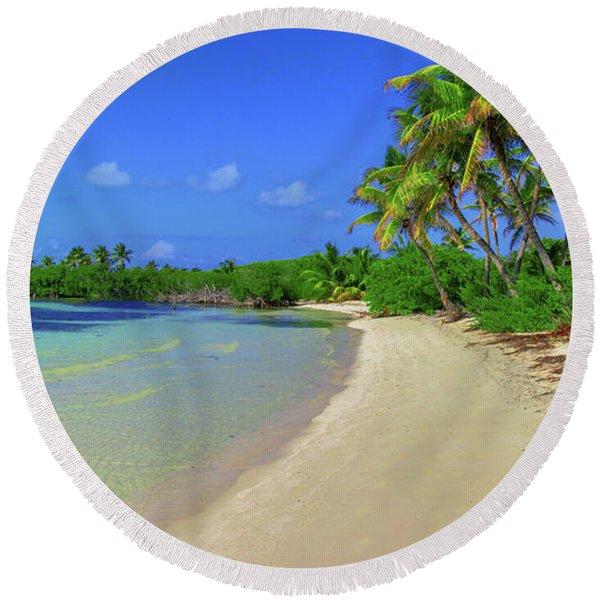 Living On An Island Round Beach Towel