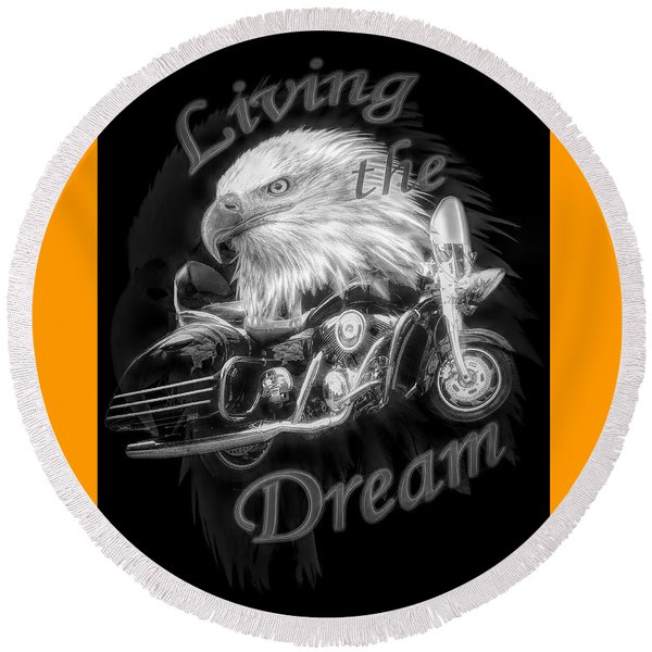 Living The Dream Radiant Black And White Round Beach Towel
