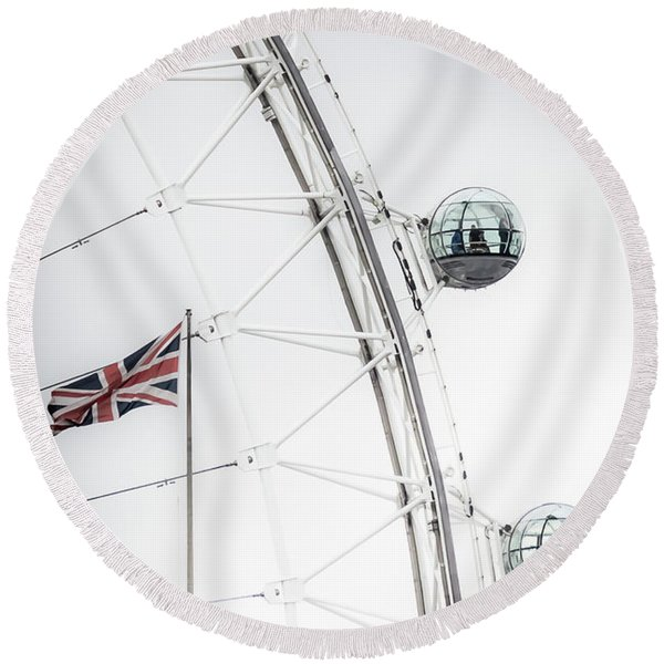 London Eye And Union Jack Round Beach Towel