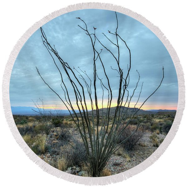 Lone Bush - Sunrise Round Beach Towel