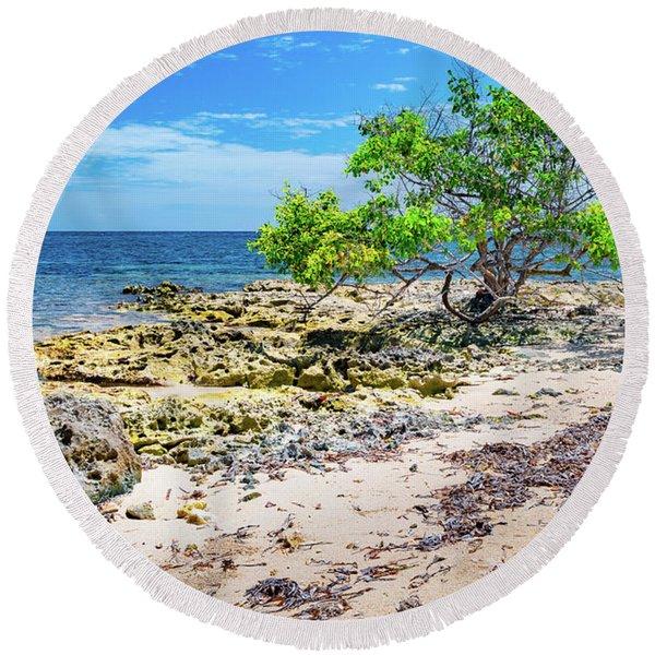 Lone Shore Tree Round Beach Towel