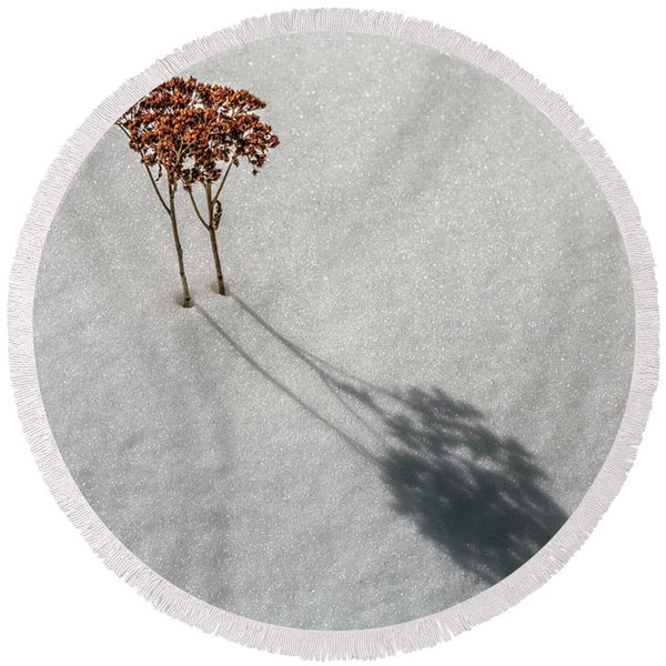 Long Shadow Of Winter Round Beach Towel