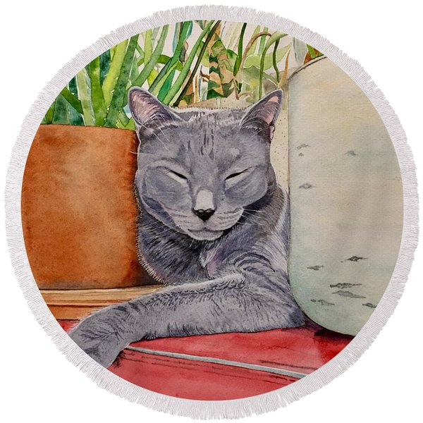 Louie In An Urban Jungle Round Beach Towel