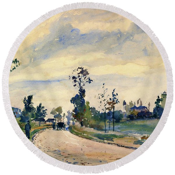 Louveciennes, Road Of Saint-germain - Digital Remastered Edition Round Beach Towel