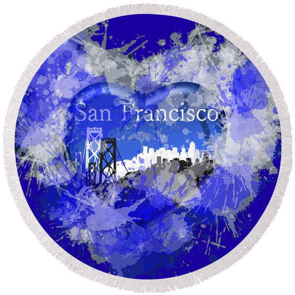 Love San Francisco Round Beach Towel