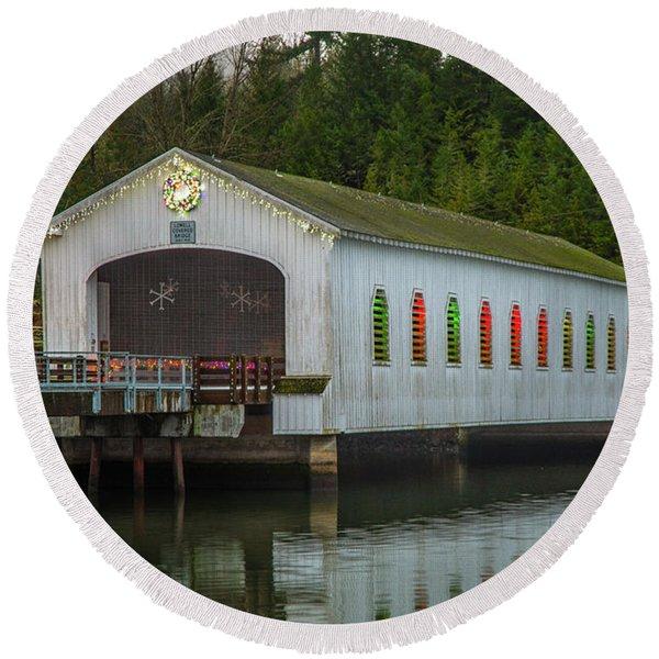 Lowell Bridge In Christmas Dress Round Beach Towel