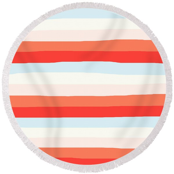 lumpy or bumpy lines abstract and colorful - QAB268 Round Beach Towel