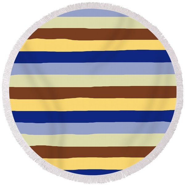 lumpy or bumpy lines abstract and summer colorful - QAB277 Round Beach Towel