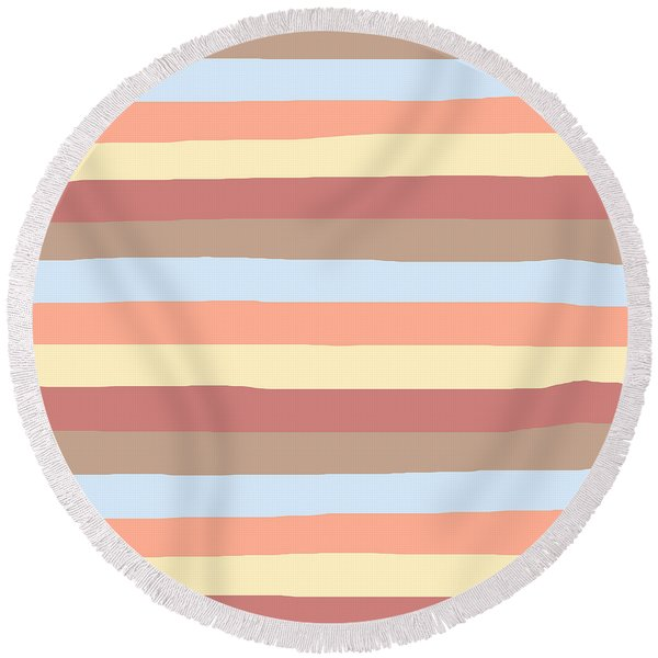 lumpy or bumpy lines abstract - QAB281 Round Beach Towel
