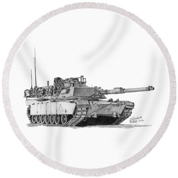M1a1 A Company 1st Platoon Round Beach Towel