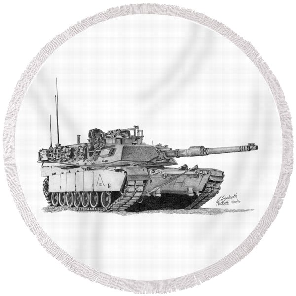 M1a1 A Company 3rd Platoon Round Beach Towel