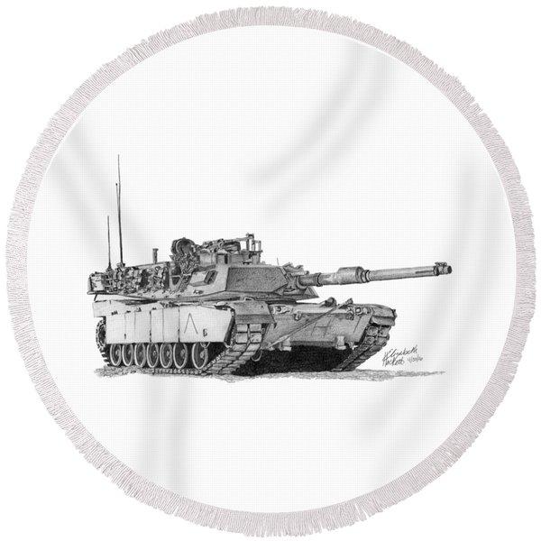 M1a1 A Company Commander Tank Round Beach Towel