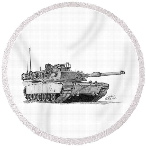 M1a1 A Company Xo Tank Round Beach Towel