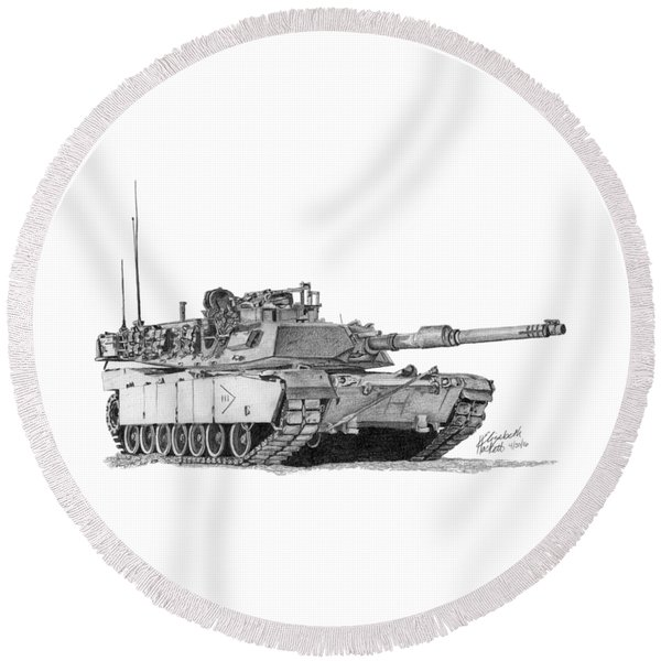 M1a1 B Company 3rd Platoon Commander Round Beach Towel