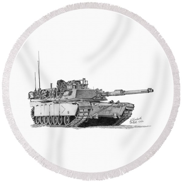 M1a1 B Company Commander Tank Round Beach Towel