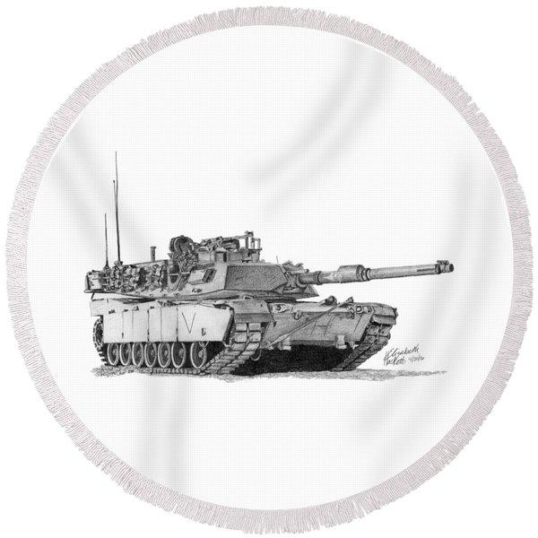 M1a1 C Company Commander Tank Round Beach Towel