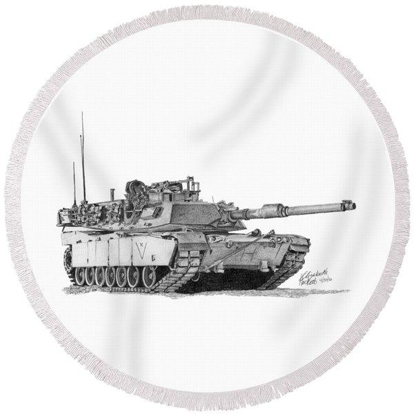 M1a1 C Company Xo Tank Round Beach Towel