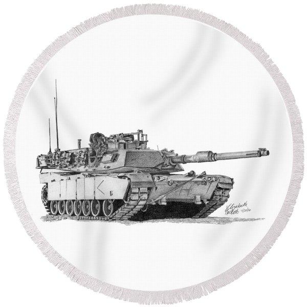 M1a1 D Company Commander Tank Round Beach Towel