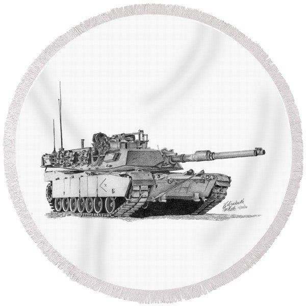 M1a1 D Company Xo Tank Round Beach Towel