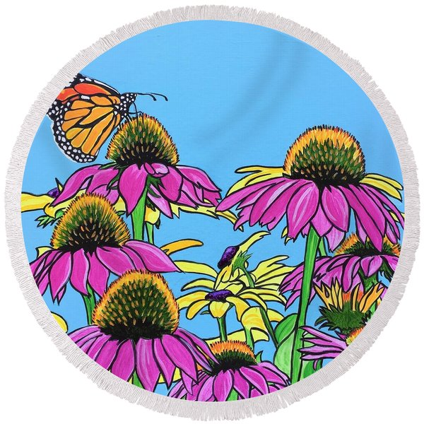 Magnificant Monarch Round Beach Towel