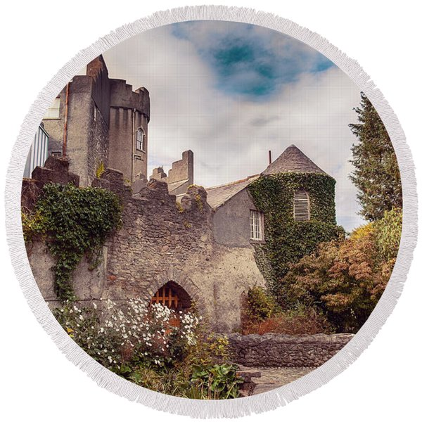 Round Beach Towel featuring the photograph Malahide Castle By Autumn  by Ariadna De Raadt